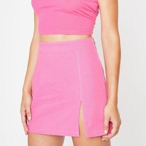 Dolls Kill pink denim slit skirt